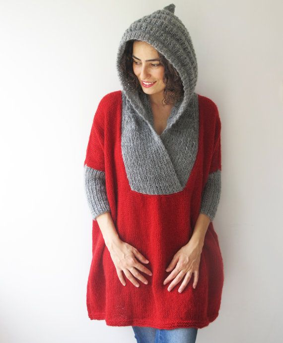 Plus Size Sweater with Hoodie - Red- Gray - Poncho - Tunic - Dress by Afra
