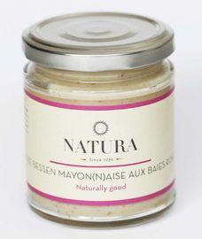 Mayonaise van Natura met roze peper  Een mayonaise met een beetje pit. Aan deze geheel ambachtelijk bereide mayonaise, vol trots gemaakt door het Belgische bedrijf Natura, zijn roze 'pepers' toegevoegd, waardoor de mayonaise een uitgesproken karakter krijgt. Deze mayonaise is vol en fris van smaak.