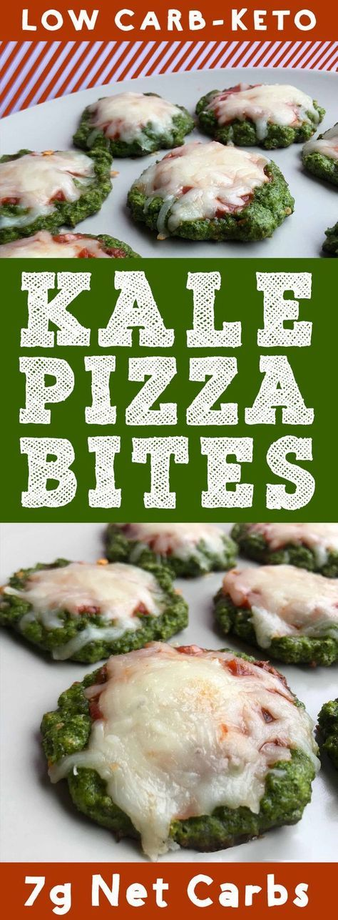 This recipe for Low Carb Kale Pizza Bites is Keto, Paleo, THM, Atkins, Banting, LCHF, Sugar Free and Gluten Free. And each pizza bite has only 2g net carbs. #Keto #paleo #banting #diet #GlutenFree