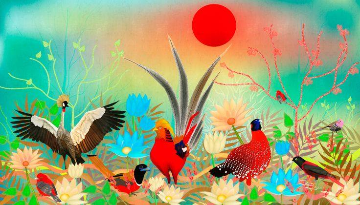 Paisaje con pájaros y sol rojo #RevolutionartDesign