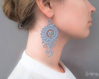 Boucles d'oreilles en dentelle de la Bohémie Boucles d'oreilles en argenté   Longue boucle d'oreille vintage   Tatouage   Cadeau nuptiale