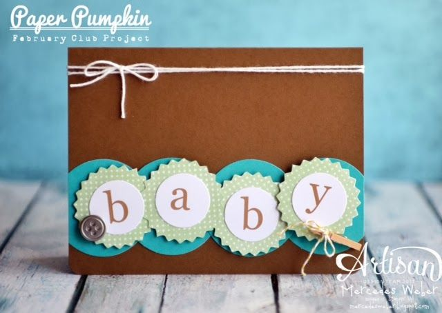 Loving this alternate use! Creations by Mercedes: February Paper Pumpkin!: Pumpkin Ideas, Cards Design, Cards Ideas, Baby Cards, 2014 Paper, Paper Pumpkin, Stampin Up, February Paper, Pumpkin Baby