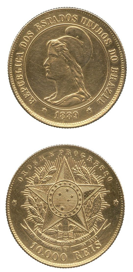 BRAZIL Republic, Gold 10,000-Reis, 1889, Liberty head left, rev arms of the Republic, 8.95g (F 125; KM 496). #coins #currency #money