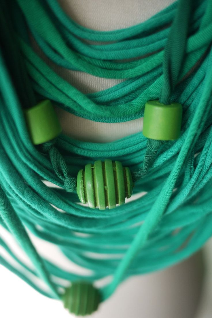 Upcycled t-shirt scarf: Shades of green with knots and wooden beads [370] by StripsUp on Etsy