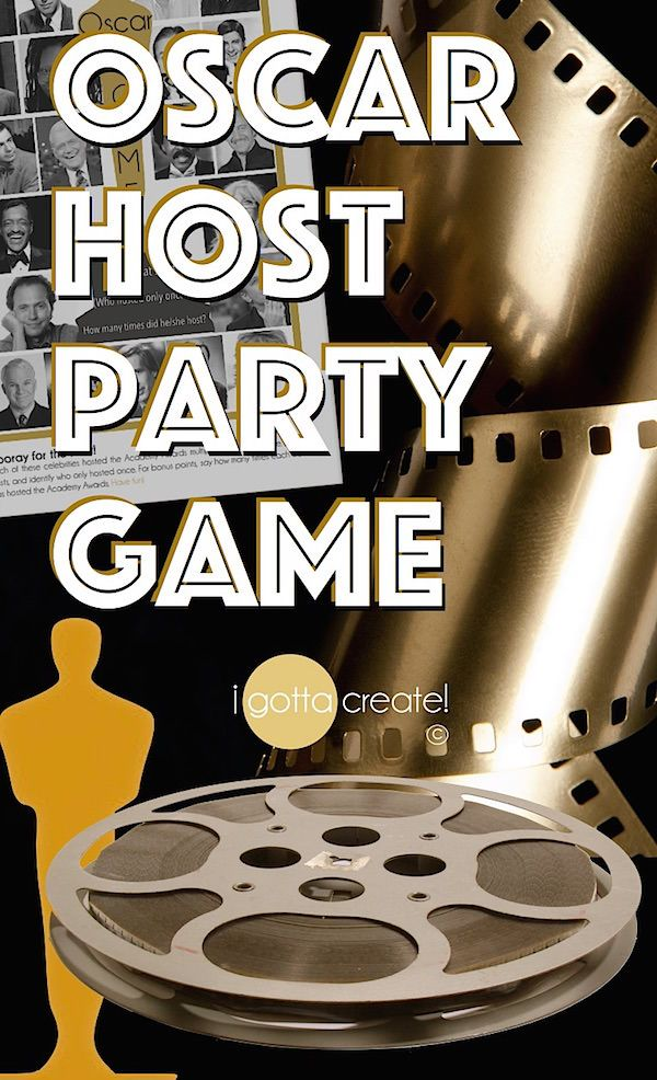 Name that Oscar Host!  Printable party game for your Academy Awards Watch party.  | download at I Gotta Create!