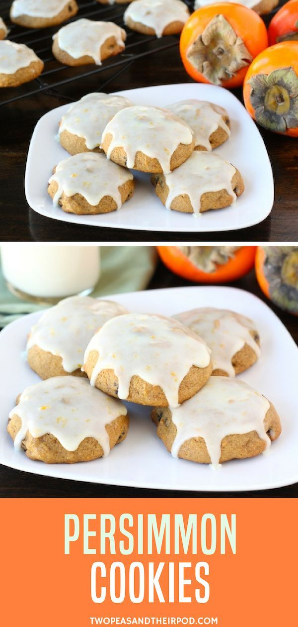 Spicy Soft And Moist Persimmon Cookies With Raisins And A Sweet Orange Glaze This Persimmon Cook Persimmon Cookies Persimmon Cookie Recipe Persimmon Recipes