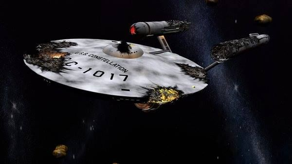 garage fit out ideas - The severely damaged USS Constellation from the TOS