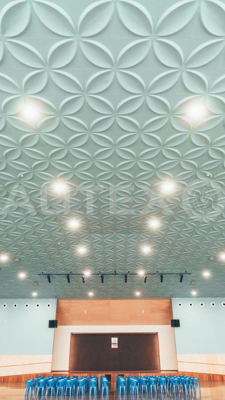Autex Interior Acoustics - Quietspace® 3D Tiles - Custom Frangipani Design - Custom Blue - Architect: Michael O'Sullivan - Free Wesleyan Church of Tonga, Auckland, NZ
