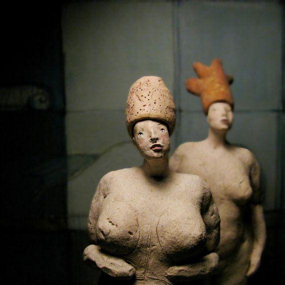 Woman in Orange Hat II/ Ceramic Colorful by AnnaKozlowskaLuc