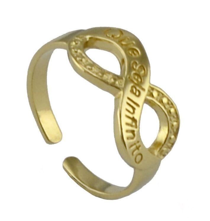 """Anel Infinito Dourado folheado a ouro com banho anti-alérgico, modelo no símbolo infinito com a frase """"Que seja infinito"""". O Símbolo do Infinito representa algo grande e incontável e denota algo que não tem início nem fim, ou seja sem limites. Para alguns remete ao amor incondicional!"""