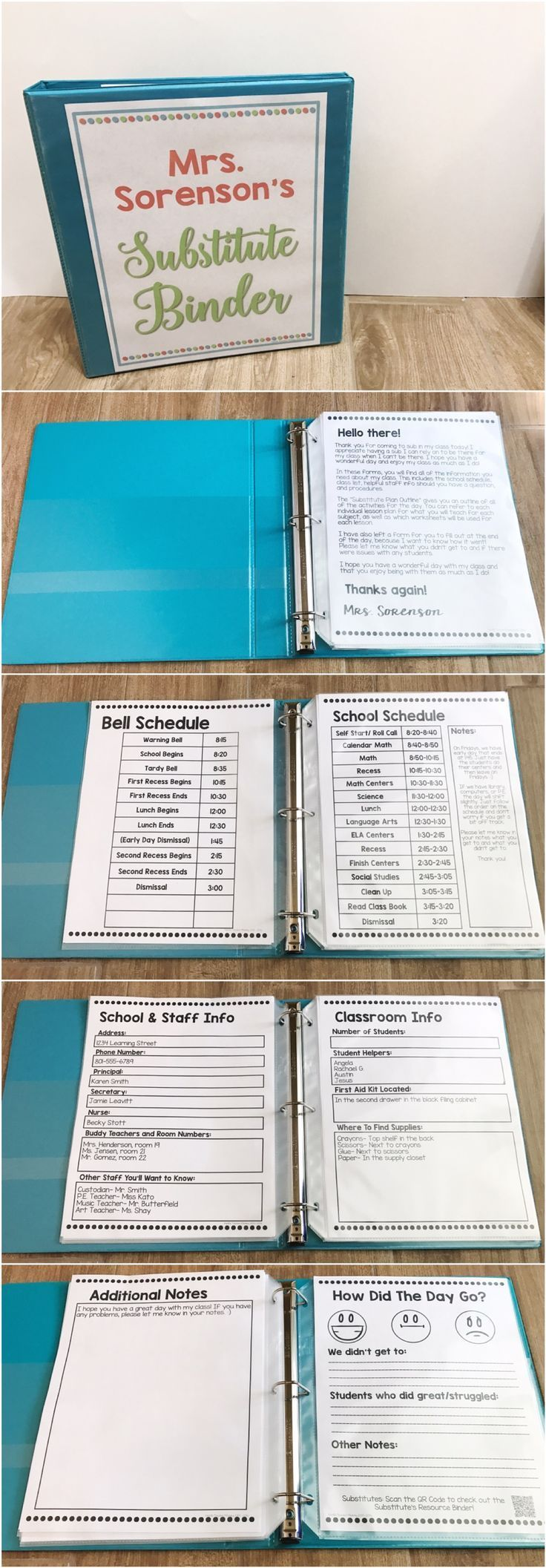Getting your sub binder ready is a breeze! This editable substitute binder includes 20 forms that you can type right into. The adorable cover (add your own name!), note to the sub, bell schedule, regular, alternate, and specials schedules are included. Forms included for school & staff info, classroom info, arrival & dismissal, classroom management, emergency procedures & more! An end of the day form is included. Perfect for short and long term subs! **Also part of my Ready To Go Sub