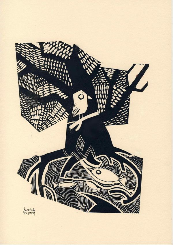 """Kalevala"" serie of linocuts (2011) by Katerina Churakova, via Behance"
