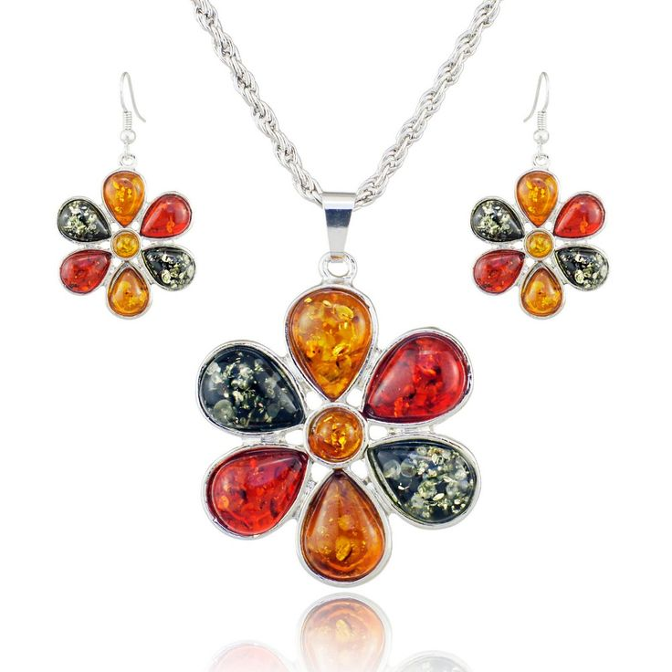 Colorful Baltic Simulated Imitation Amber Honey Flower Earrings Necklace Women's Wedding Jewelry Set L40901