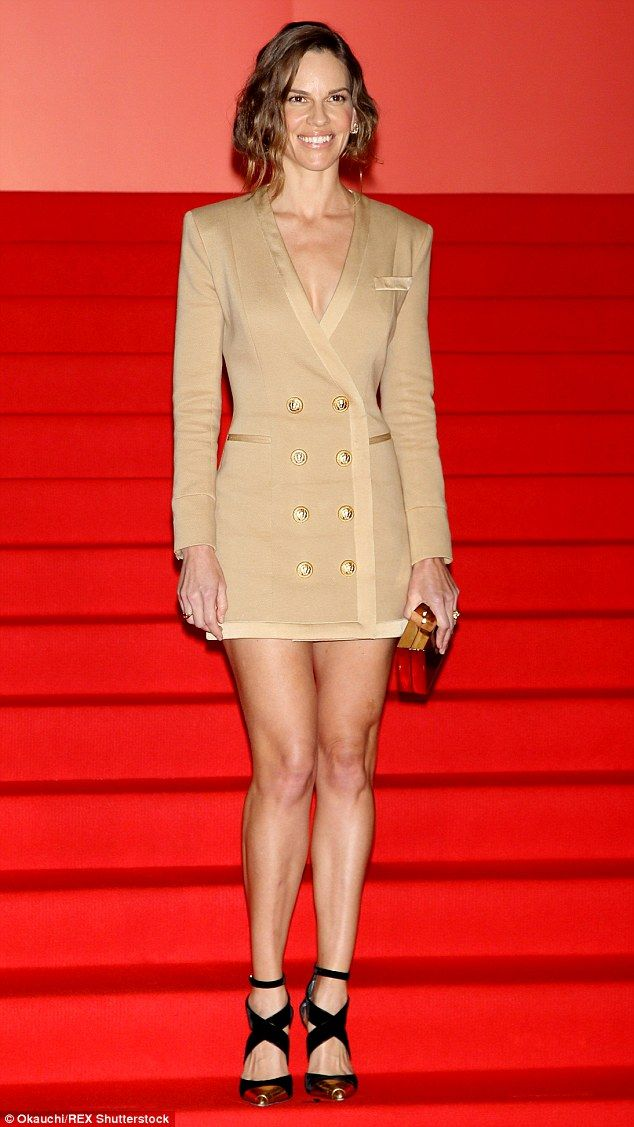 She means business! Hilary Swank flaunted her enviable long legs at Tokyo Film Festival on Friday