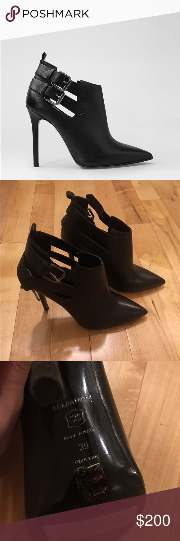 AllSaints Kira Boot in Black,  Sz 39 AllSaints Kira Boot in Black, barely worn, silver buckle and skinny heel (around 4 inches), Sz 39 (9) All Saints Shoes Ankle Boots & Booties