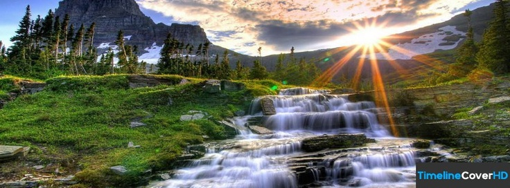 Waterfall And Mountains Timeline Cover 850x315 Facebook