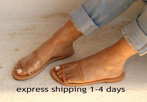 2af5210d48049 CALI /Women transparent leather flat sandals /Women clear PVC ...