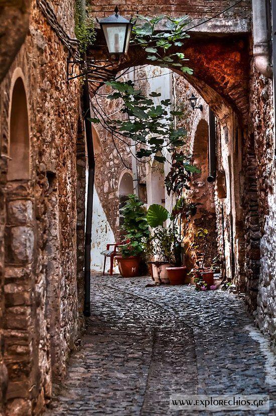 Calles en la isla de Chios
