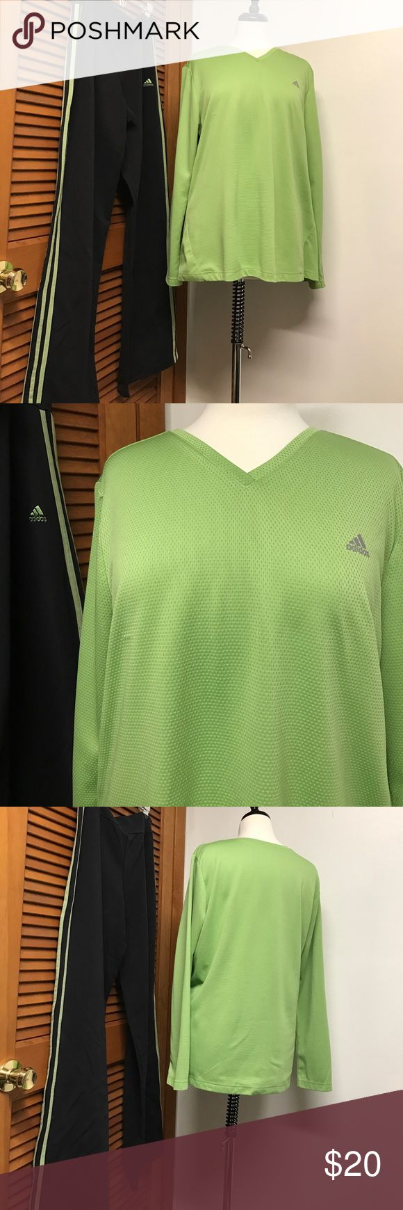 "Adidas Athletic Top and Pants Like New Adidas Athletic V neck Top and Pants. Pants black with double lime green side strips and long sleeve top is lime green. Measurements are laying flat across shoulder to shoulder is 19"", underarms is 24.5"", at Hem is 24"", and 28"" long. Arm inseam is 18"". The pants waist is 16.5 and inseam pant legs is 33"". See pictures for fabric and care. Adidas Pants Track Pants & Joggers"