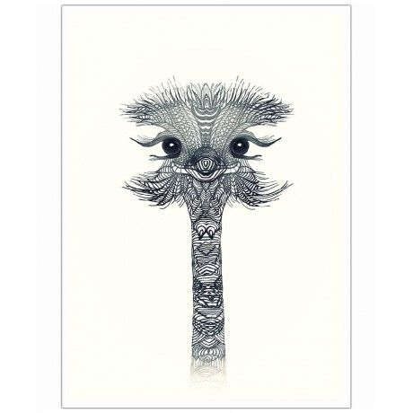 Ostrich Black & White as Art Print by Monika Strigel | Art. Everywhere.