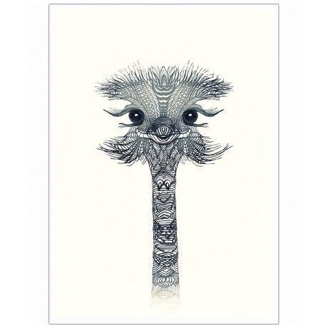 Ostrich Black & White as Art Print by Monika Strigel | Art. Everywhere.