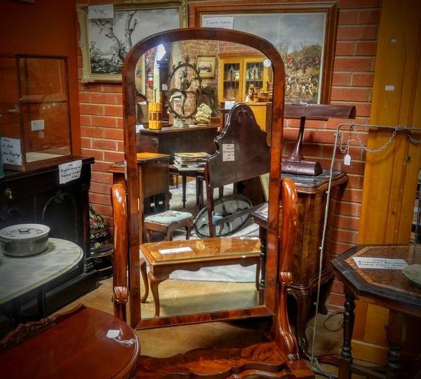 GA1056   -   English Burr Mahogany Cheval mirror c1870