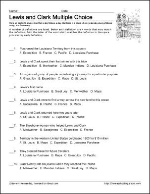 Lewis and Clark Worksheets and ColoringPages