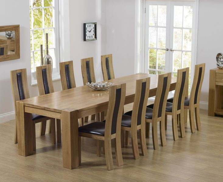Dining Table For 10 Part - 49: Mark Harris Tampa Solid Oak Dining Table With 10 Havana Brown Chairs
