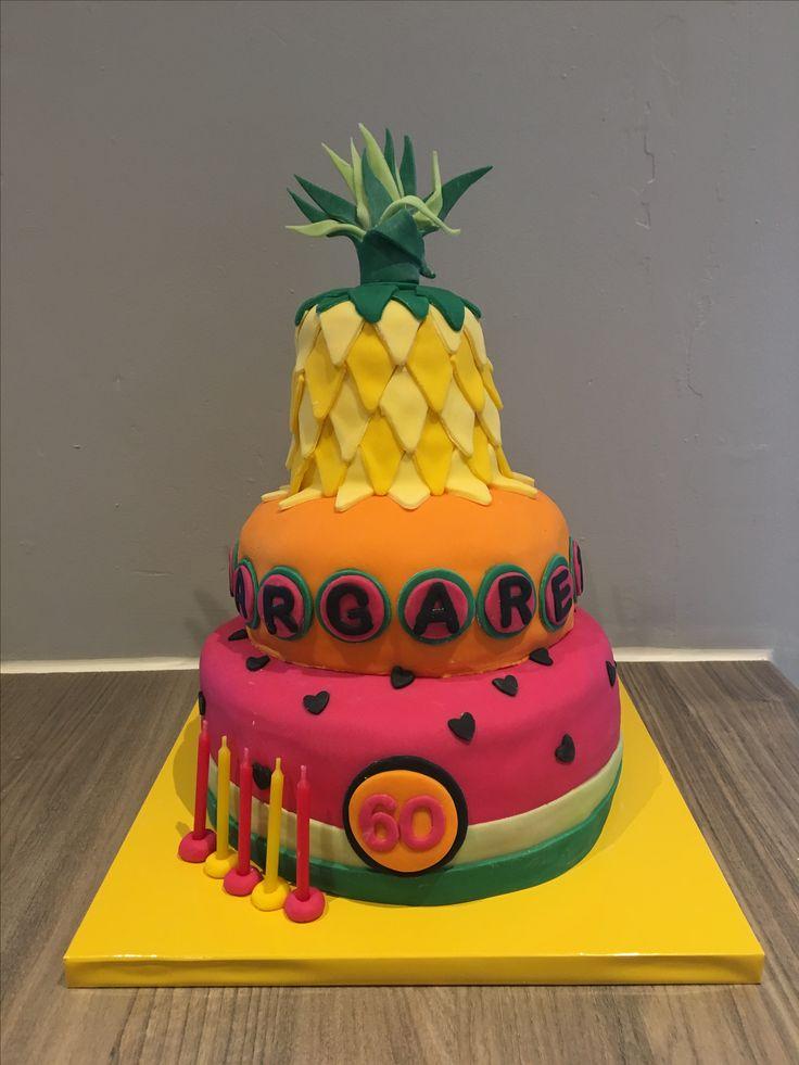 Tropical 3 tier watermelon pineapple cake 60