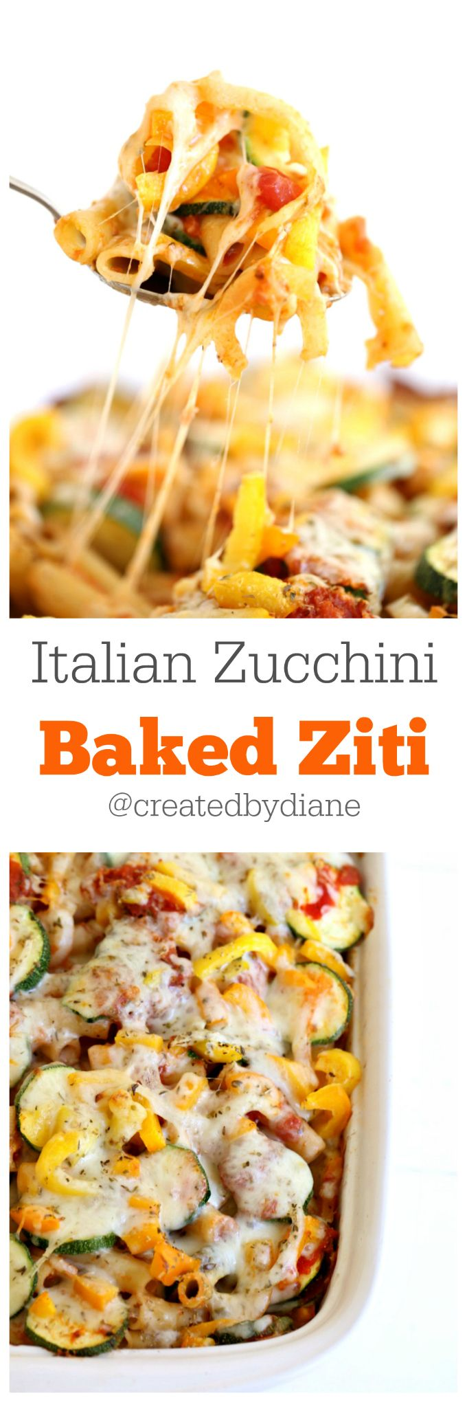 Italian Zucchini Baked Ziti recipe @createdbydiane