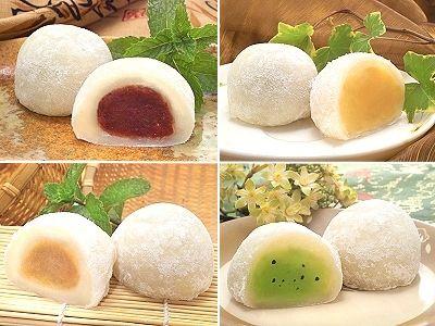 """Pastelitos """"Mochi"""" (麻糬), hechos de arroz glutinoso y con gran variedad de…"""