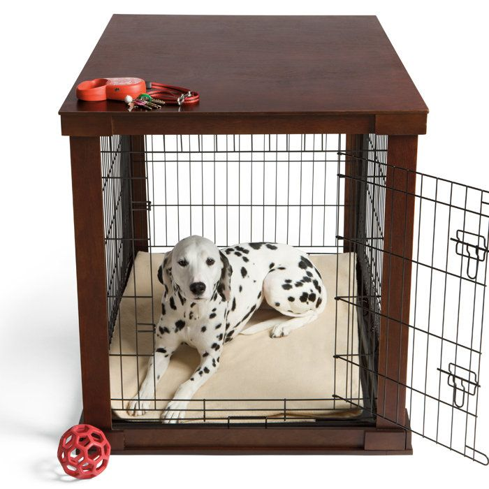 This wood dog crate is beautifully finished to look like real furniture instead of a traditional pet cage.
