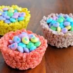 Easter Rice Krispies Cups with Pastel M/Great site for kids at Easter