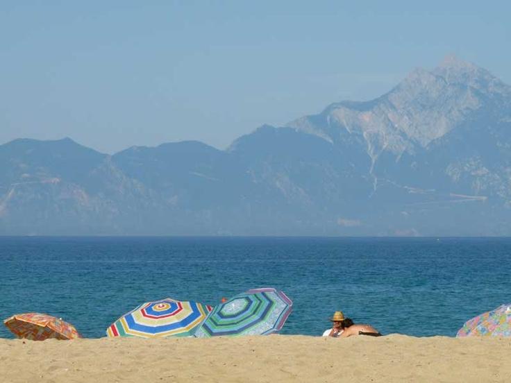 Sarti beach, Sithonia, with Mounth Athos as a perfect backdrop.