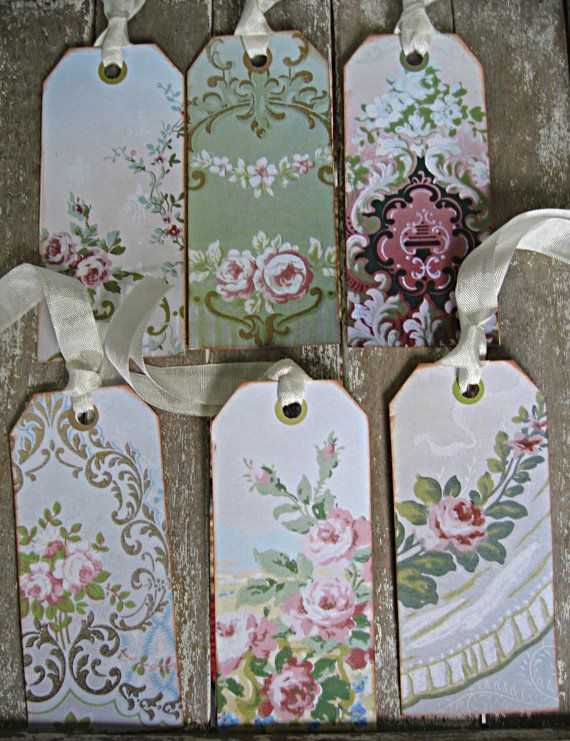 Vintage shabby wallpaper tags for gifts or by LittleBeachDesigns