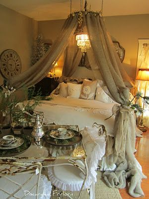 Very romantic bedroom-taupe and white