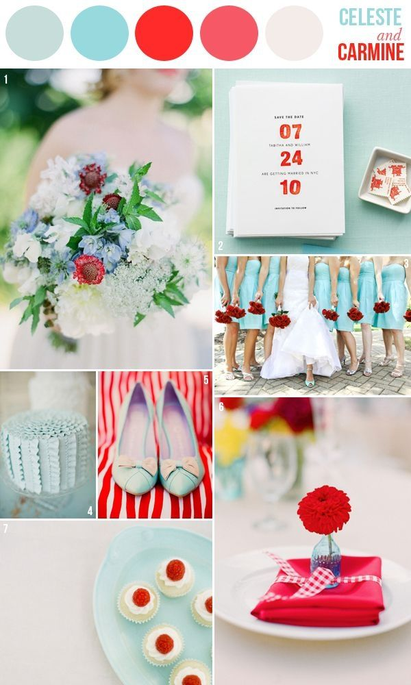 celeste blue & carmine red wedding palette by singram