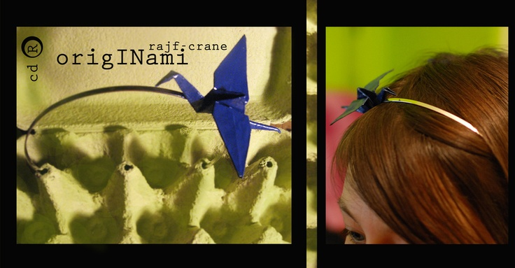 Originami crane is a hairband, made of paper in origami technique and laquered to be firm and longlasting