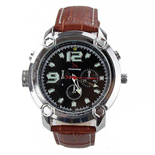 FLY-Shop-Smartwatch reloj DV infrarrojos 8G H.264 con la alta definición con la venda de reloj de cuero marrón Silicio iluminación LED #friki #android #iphone #computer #gadget