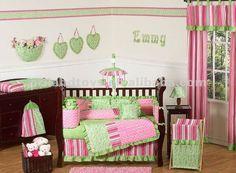De color rosa y verde lima del bebé ropa de cama cuna SET para ...