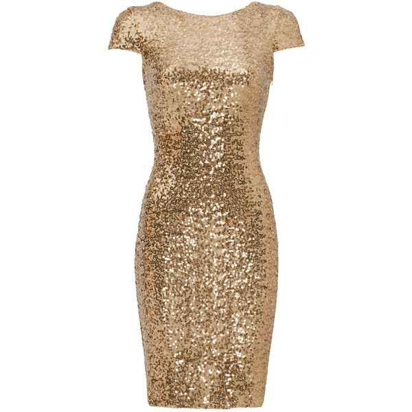 Rental Badgley Mischka Gold Swank Sequin Sheath ($75) ❤ liked on Polyvore featuring dresses, gold, gold sequin dress, sequin dress, fitted cocktail dresses, fitted dresses and gold dress