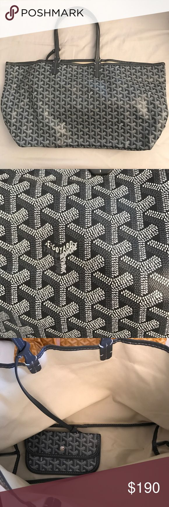 Goyard Tote Gray Goyard tote in perfect condition, only gently used a couple times. NOT AUTHENTIC hence the price. PERFECT replica of the real thing. Goyard Bags