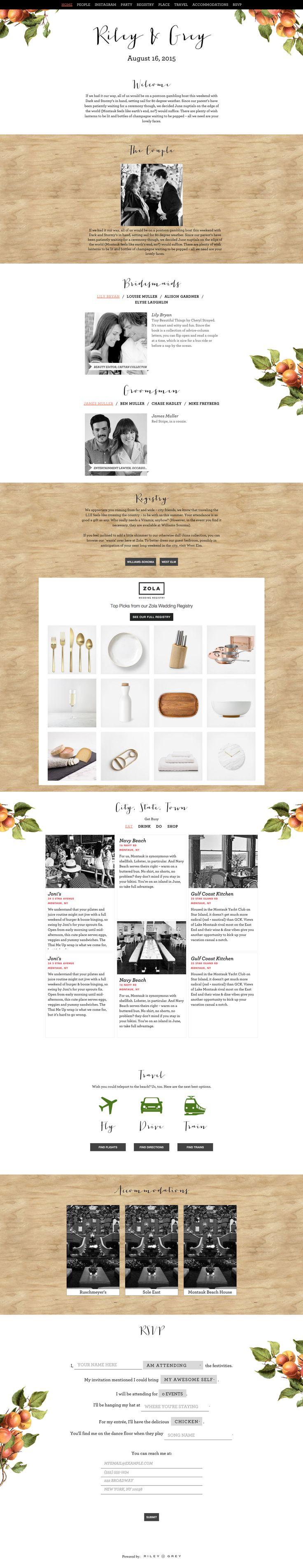 """Grove"" wedding website design by Riley & Grey (graphic design, wedding planning, wedding website example)"