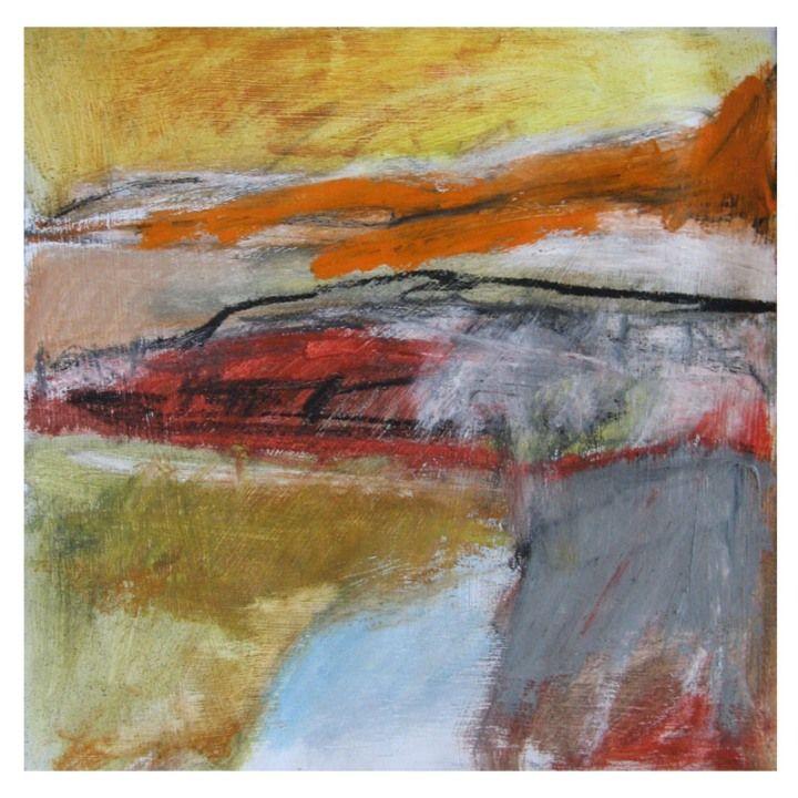 'Hot Coast (study)', Janine Baldwin, oil & charcoal on paper, 21 x 20cm  www.janinebaldwin.com