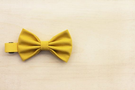 Baby Bow Tie - Yellow - Pre tied - hand sewn - vintage fabric