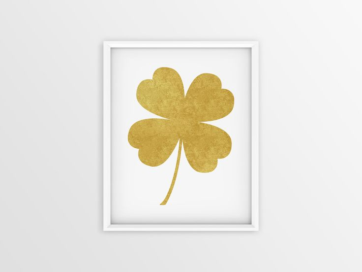 Trébol dorado, trébol símbolo, trébol Poster, trébol dibujo, Lámina de trébol, Lámina imprimible 8x10 4x6 5x7 de JuanmiIllustrations en Etsy