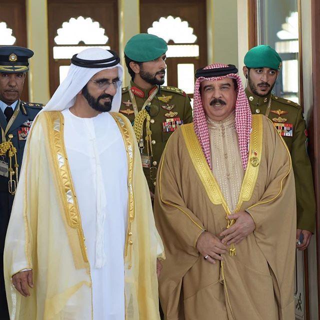 Mohammed bin Rashid bin Saeed Al Maktoum, Nasser bin Hamad bin Essa Al Khalifa, Hamad bin Essa bin Salman Al Khalifa y Khaled bin Hamad bin Essa Al Khalifa, 06/12/2016. Vía: khalifasaeed