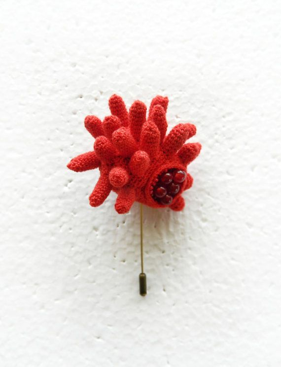 Crochet brooch inspired by underwater shapes (red brooch, sea urchin)  Lidia Puica