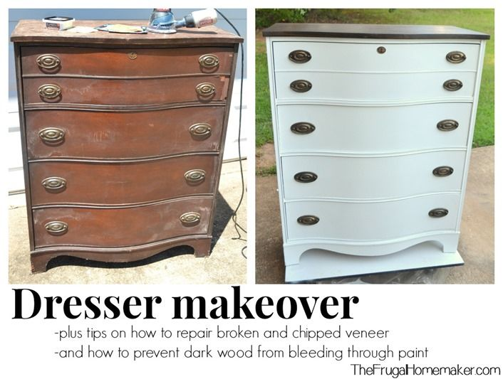 Dresser makeover - how to repair veneer and keep wood stain from bleeding through white paint