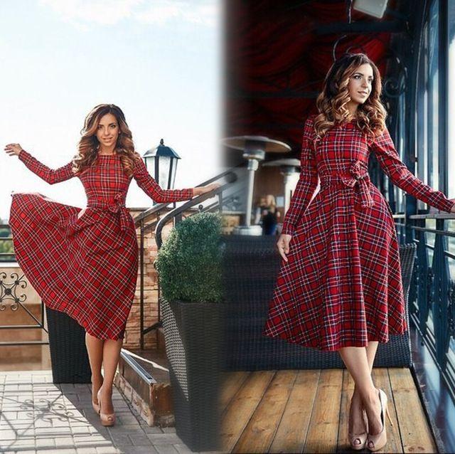 2017 nueva otoño de tela escocesa roja de manga larga mini dress mujeres del arco del o-cuello vestidos casuales vestidos